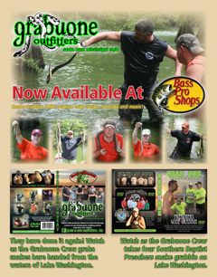 Bass Pro Shops is now carrying Grabuone Outfitters Volume IV and V DVD's.  Volume V features songs written and recorded by Jason Fratesi and The Dirt Road Jam Band, some camel chasing, snake grabbin and just some down to earth funny stuff by the Grabuone Crew. Click for larger picture.